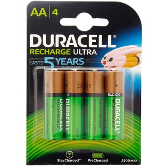 Duracell Rechargable Ultra Aa Battery 2500mah 4s (DURHR6B4-2500)
